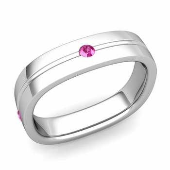 Pink Sapphire Wedding Ring in 14k Gold Shiny Square Wedding Band, 5mm