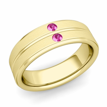 Pink Sapphire Wedding Ring in 18k Gold Brushed Flat Wedding Band, 6.5mm