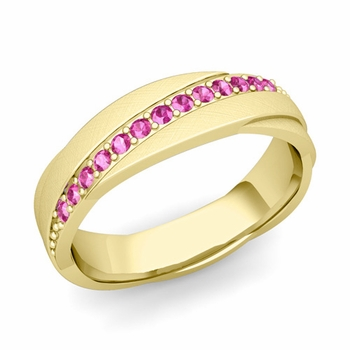 Pink Sapphire Wedding Ring in 18k Gold Brushed Rolling Wedding Band, 6mm