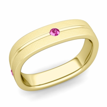 Pink Sapphire Wedding Ring in 18k Gold Brushed Square Wedding Band, 5mm