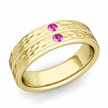 Pink Sapphire Wedding Ring in 18k Gold Hammered Flat Wedding Band, 6.5mm