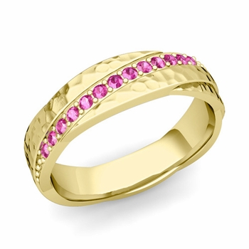 Pink Sapphire Wedding Ring in 18k Gold Hammered Rolling Wedding Band, 6mm
