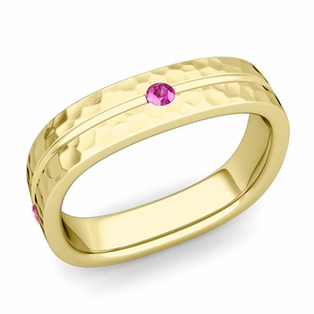 Pink Sapphire Wedding Ring in 18k Gold Hammered Square Wedding Band, 5mm