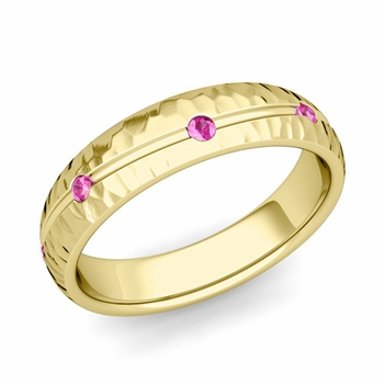 Pink Sapphire Wedding Ring in 18k Gold Hammered Wave Wedding Band, 5mm
