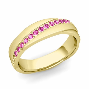 Pink Sapphire Wedding Ring in 18k Gold Satin Rolling Wedding Band, 6mm