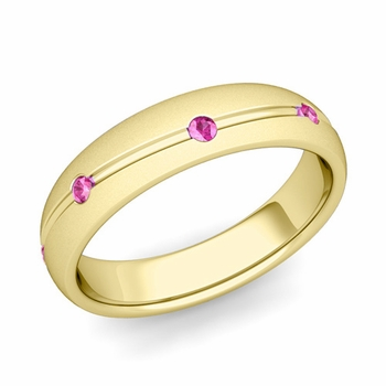 Pink Sapphire Wedding Ring in 18k Gold Satin Wave Wedding Band, 5mm