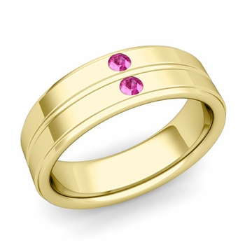 Pink Sapphire Wedding Ring in 18k Gold Shiny Flat Wedding Band, 6.5mm