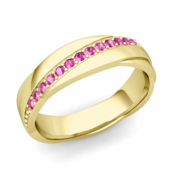 Pink Sapphire Wedding Ring in 18k Gold Shiny Rolling Wedding Band, 6mm