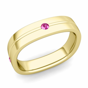 Pink Sapphire Wedding Ring in 18k Gold Shiny Square Wedding Band, 5mm