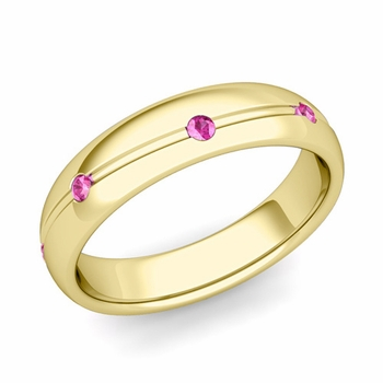 Pink Sapphire Wedding Ring in 18k Gold Shiny Wave Wedding Band, 5mm