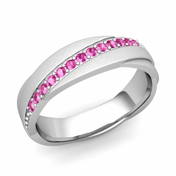 Pink Sapphire Wedding Ring in Platinum Brushed Rolling Wedding Band, 6mm