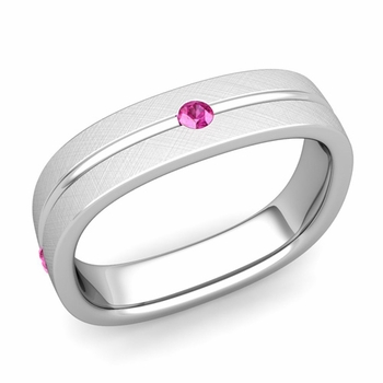 Pink Sapphire Wedding Ring in Platinum Brushed Square Wedding Band, 5mm