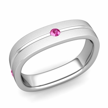 Pink Sapphire Wedding Ring in Platinum Satin Square Wedding Band, 5mm