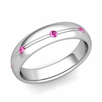Pink Sapphire Wedding Ring in Platinum Shiny Wave Wedding Band, 5mm