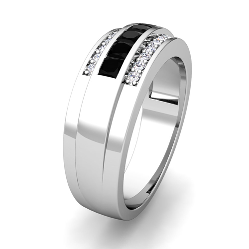 princess cut black diamond mens wedding band ring in 18k gold