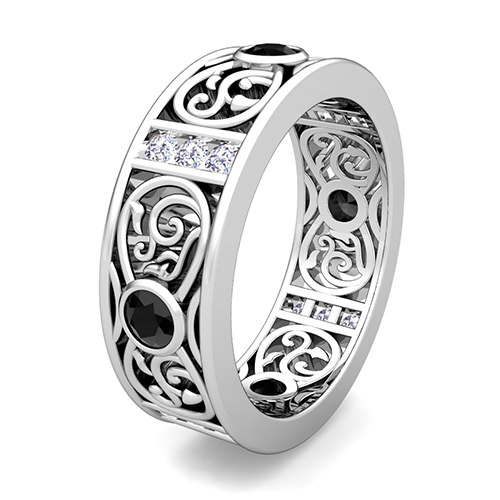 Black and White Diamond Celtic Wedding Band Ring in Platinum