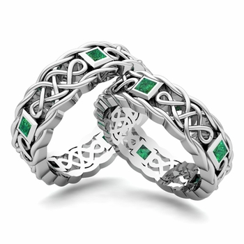 Layaway Princess Cut Celtic Knot Wedding Ring Set