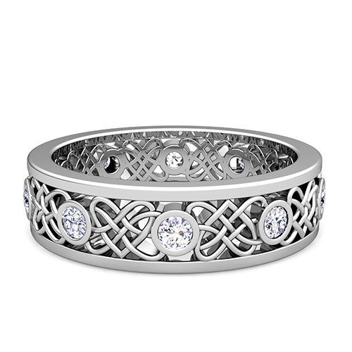 Celtic Heart Knot Wedding Band in Platinum Bezel Set Diamond Ring