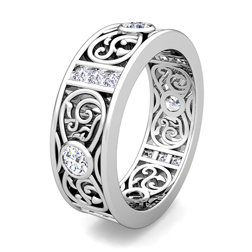 Knot Diamond Wedding Band Ring for Men in Platinum