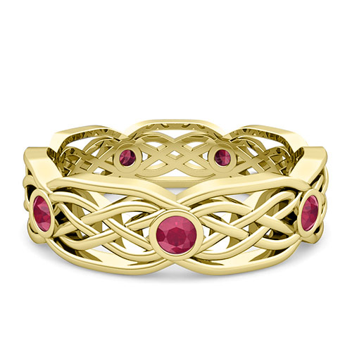 Knot Wedding Band in 14k Gold Bezel Set Ruby Ring