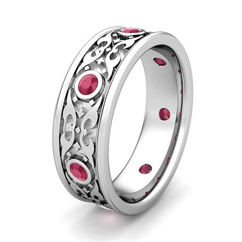 Order Now Ships On Monday 9 24order In 12 Business Days Celtic Wedding Band For Men Platinum Bezel Set Ruby Ring
