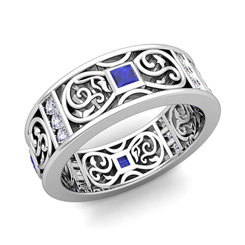 Princess Cut Celtic Sapphire Wedding Band Ring For Men In 18k Gold
