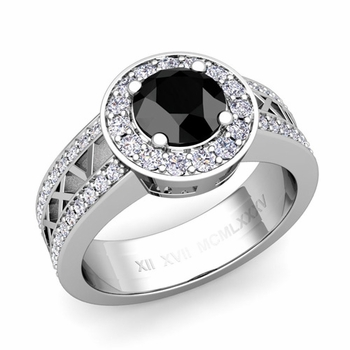 Roman Numeral Black Diamond Engagement Ring in 14k Gold Halo Setting, 7mm