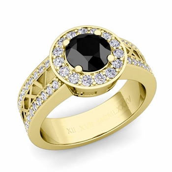 Roman Numeral Black Diamond Engagement Ring in 18k Gold Halo Setting, 5mm