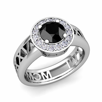 Roman Numeral Black Diamond Engagement Ring in Platinum Halo Setting, 7mm