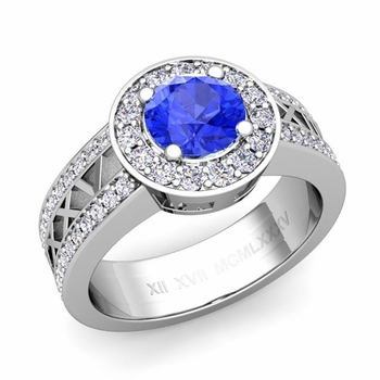 Roman Numeral Ceylon sapphire Engagement Ring in 14k Gold Halo Setting, 7mm