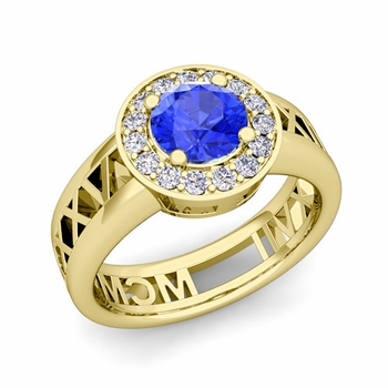 Roman Numeral Ceylon sapphire Engagement Ring in 18k Gold Halo Setting, 5mm