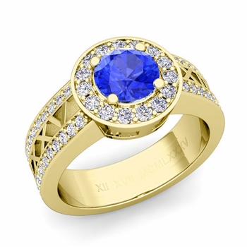 Roman Numeral Ceylon sapphire Engagement Ring in 18k Gold Halo Setting, 6mm