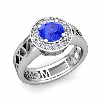 Roman Numeral Ceylon sapphire Engagement Ring in Platinum Halo Setting, 7mm