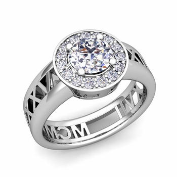 Roman Numeral Diamond Engagement Ring in 14k Gold Halo Setting, 5mm