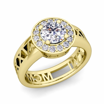 Roman Numeral Diamond Engagement Ring in 18k Gold Halo Setting, 5mm
