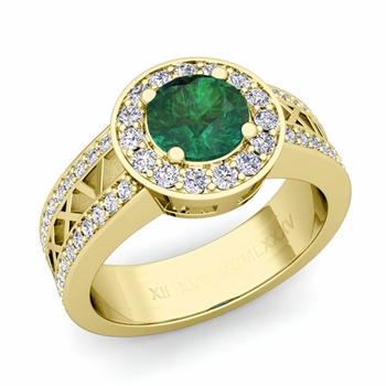 Roman Numeral Emerald Engagement Ring in 18k Gold Halo Setting, 6mm