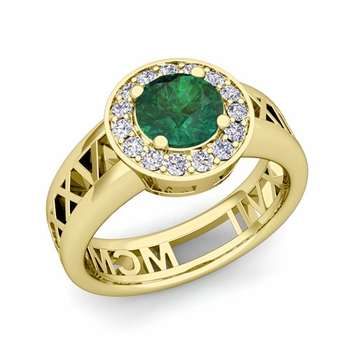 Roman Numeral Emerald Engagement Ring in 18k Gold Halo Setting, 7mm