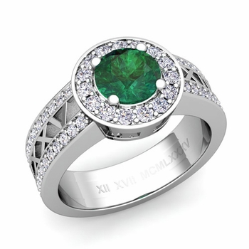 Roman Numeral Emerald Engagement Ring in Platinum Halo Setting, 5mm