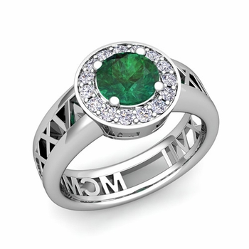 Roman Numeral Emerald Engagement Ring in Platinum Halo Setting, 7mm
