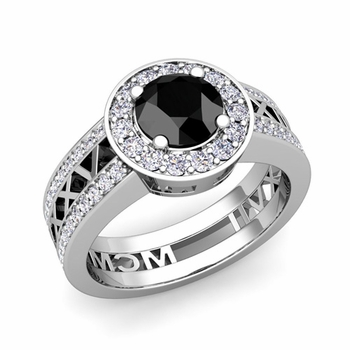 Roman Numeral Engagement Ring in 14k Gold Halo Black Diamond Ring, 7mm
