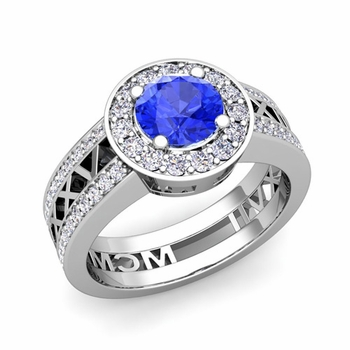 Roman Numeral Engagement Ring in 14k Gold Halo Ceylon Sapphire Ring, 7mm