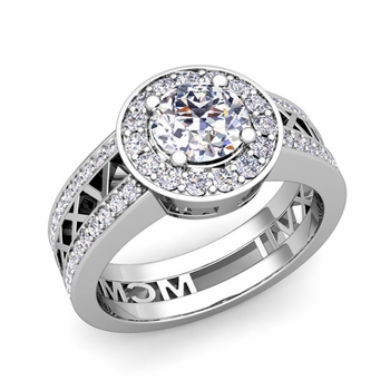 Roman Numeral Engagement Ring in 14k Gold Halo Diamond Ring