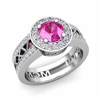 Roman Numeral Engagement Ring in 14k Gold Halo Pink Sapphire Ring, 6mm