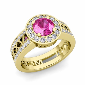 Roman Numeral Engagement Ring in 14k Gold Halo Pink Sapphire Ring, 7mm