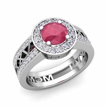 Roman Numeral Engagement Ring in 14k Gold Halo Ruby Ring, 6mm