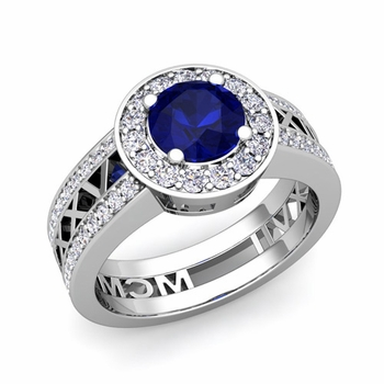 Roman Numeral Engagement Ring in 14k Gold Halo Sapphire Ring, 7mm