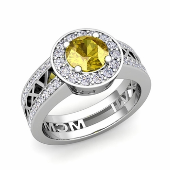 Roman Numeral Engagement Ring in 14k Gold Halo Yellow Sapphire Ring, 7mm