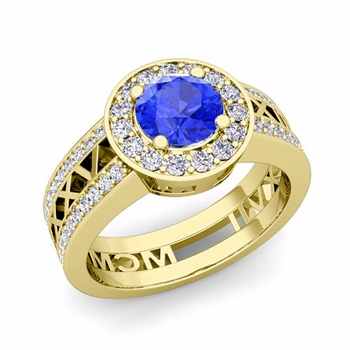 Roman Numeral Engagement Ring in 18k Gold Halo Ceylon Sapphire Ring, 7mm