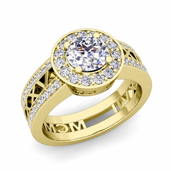 Roman Numeral Engagement Ring in 18k Gold Halo Diamond Ring