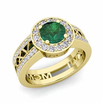 Roman Numeral Engagement Ring in 18k Gold Halo Emerald Ring, 7mm